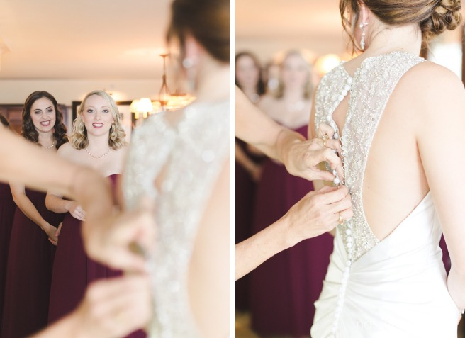 bridesmaids in burgundy dresses at vero beach hotel and spa by vero beach wedding photographer Nassimbeni Photography
