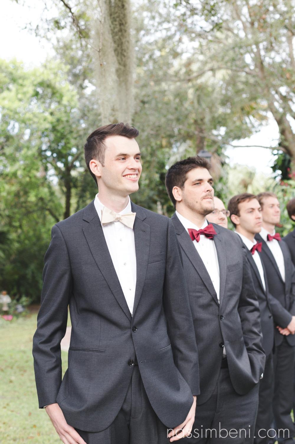 grooms reaction as bride walks down aisle at heathcote botanical garden