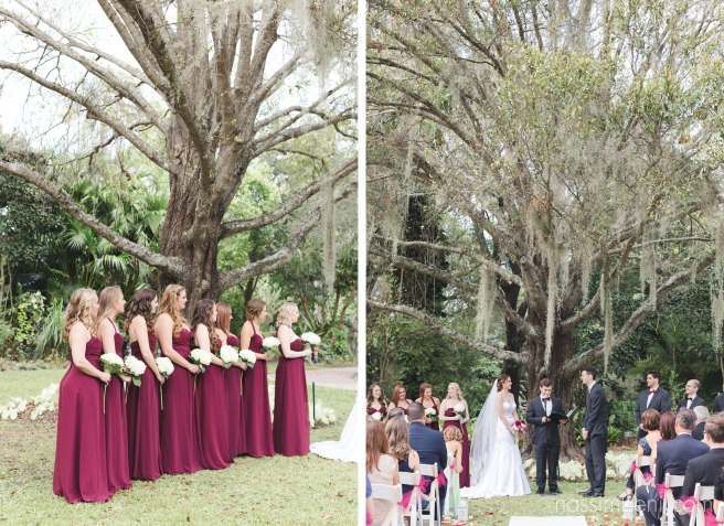 bridesmaids in burgundy at heathcote botanical garden ceremony by Nassimbeni Photography