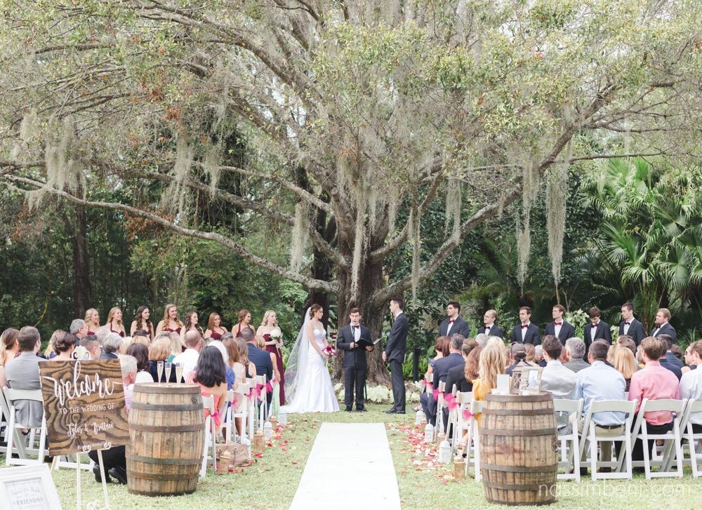 heathcote botanical garden wedding ceremony by vero beach wedding photographers Nassimbeni Photography