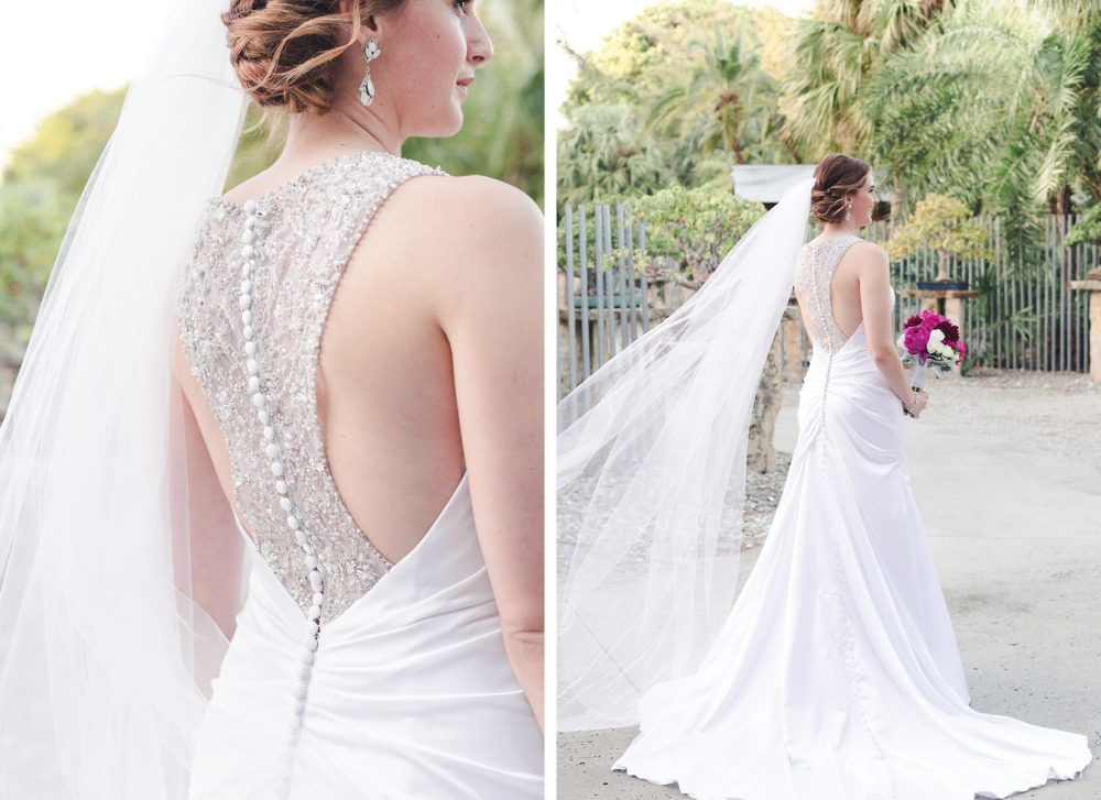 bride with beautiful back of gown detail at heathcote wedding by vero beach wedding photographer Nassimbeni Photography