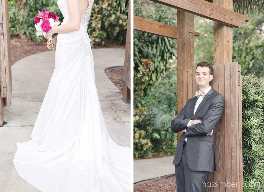 elegant bride and dapper groom at heathcote botanical garden by Nassimbeni Photography