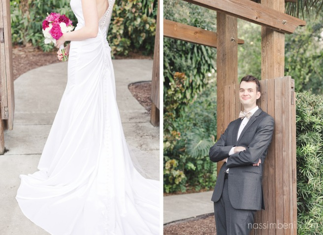 elegant bride and dapper groom at heathcote botanical garden by Nassimbeni Photography
