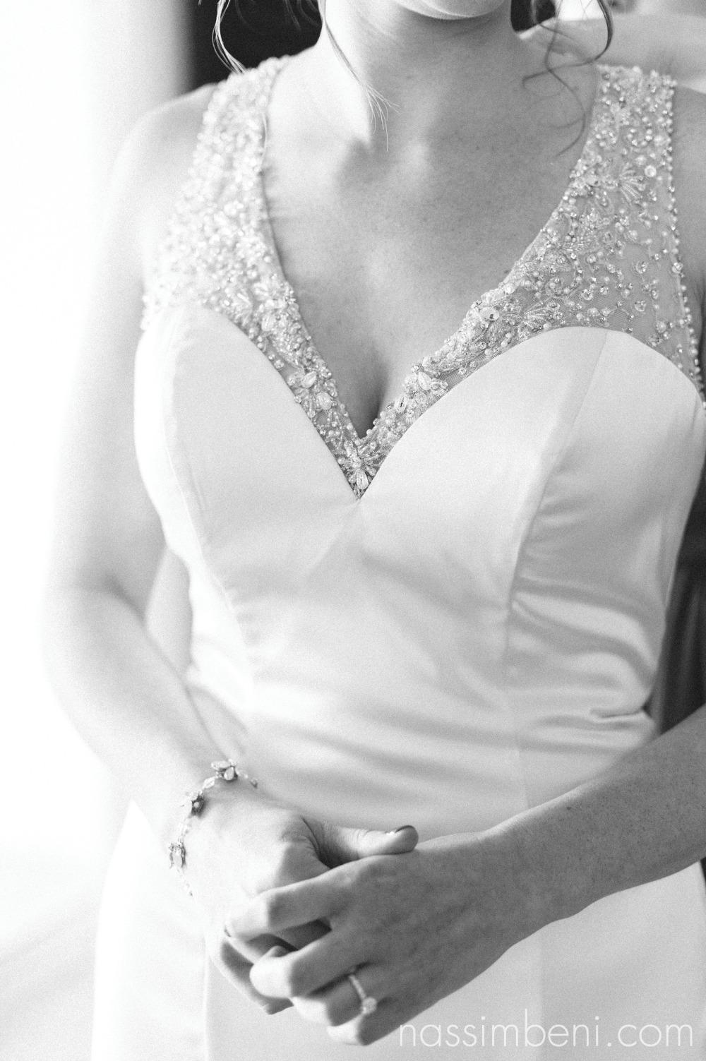 black and white of bride prep at vero beach hotel and spa by treasure coast wedding photographer Nassimbeni Photography