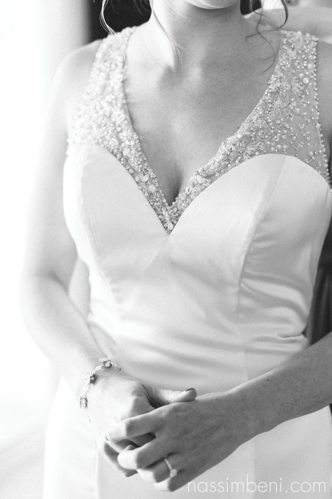 black and white of bride prep at vero beach hotel and spa by treasure coast wedding photographer Nassimbeni Photography