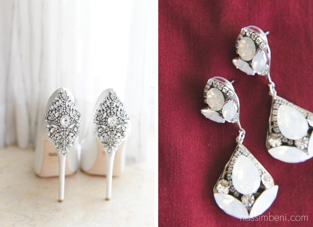 Beautiful detail on back of Badgley Mischka wedding shoes by port st lucie wedding photographer by Nassimbeni photography