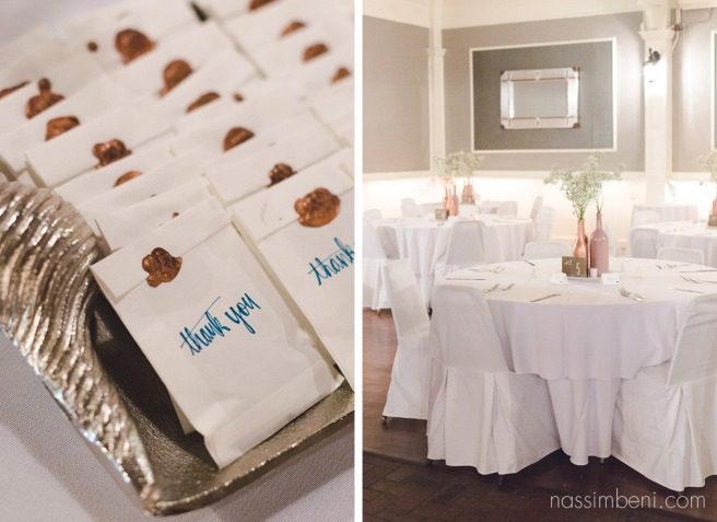 wax sealed wedding favors at historic maxwell room wedding