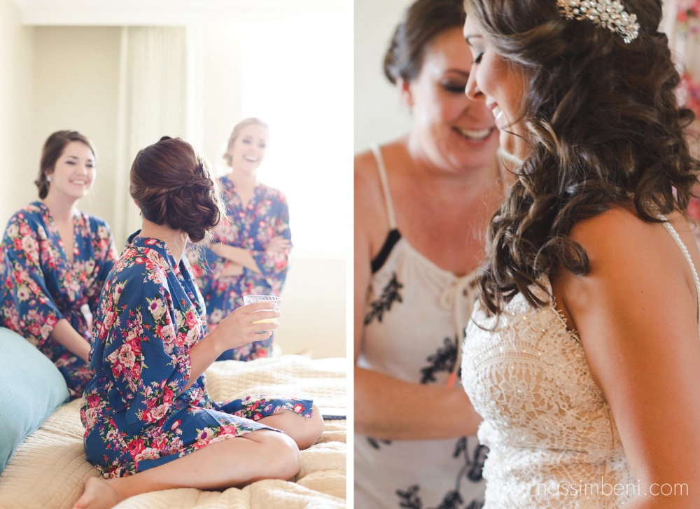 mom assists bride into isabellas bridal co gown by nassimbeni photography