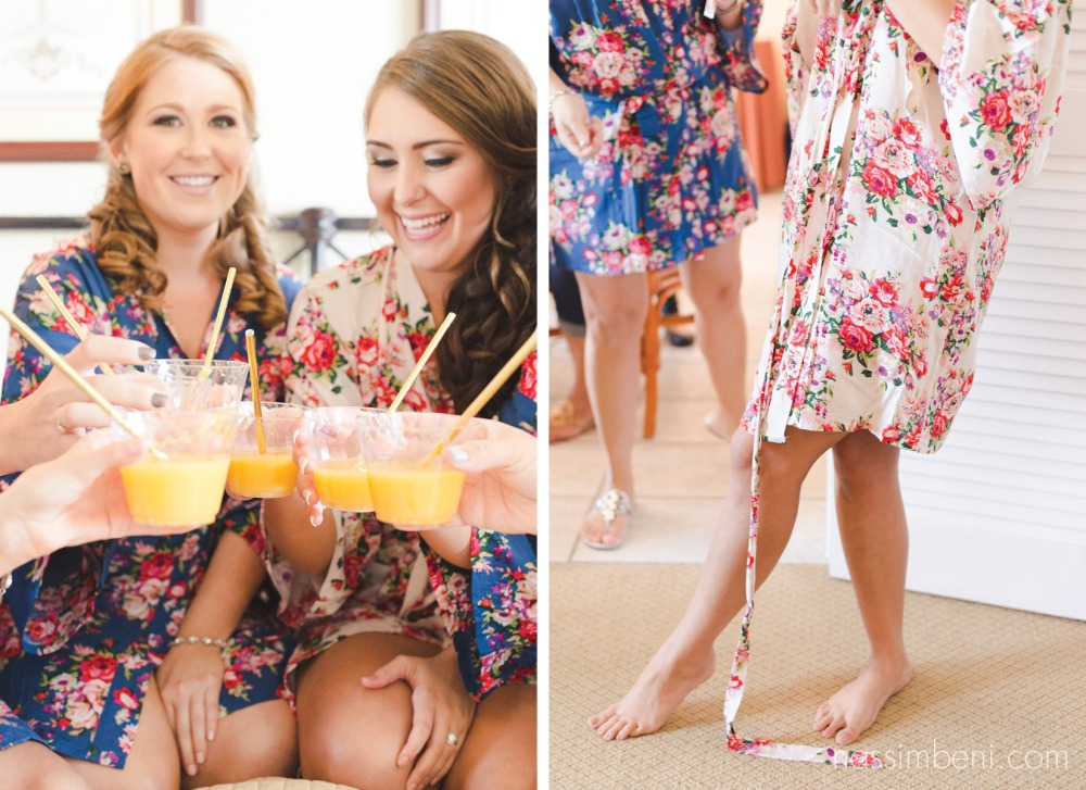 mimosas, bridesmaids and floral robes at palm beach shores resort by port st lucie wedding photographer nassimbeni photography