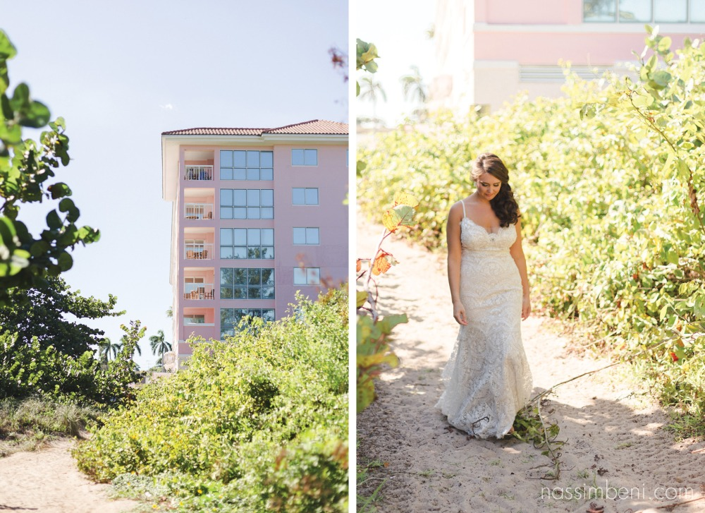 bride walking to her groom for the first look at palm beach shores resort by nassimbeni photography
