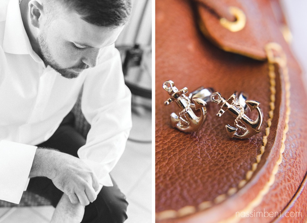 anchor cuff links at coastal palm beach yacht wedding by nassimbeni photography