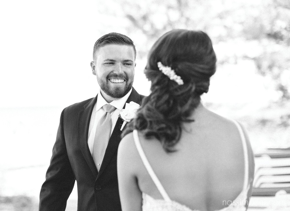 groom reaction to bride first look by nassimbeni photography
