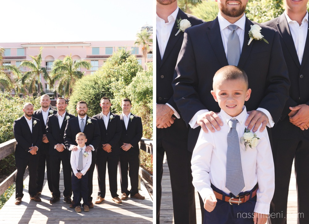 groomsmen and ring bearer at palm beach shores resort by nassimbeni photography