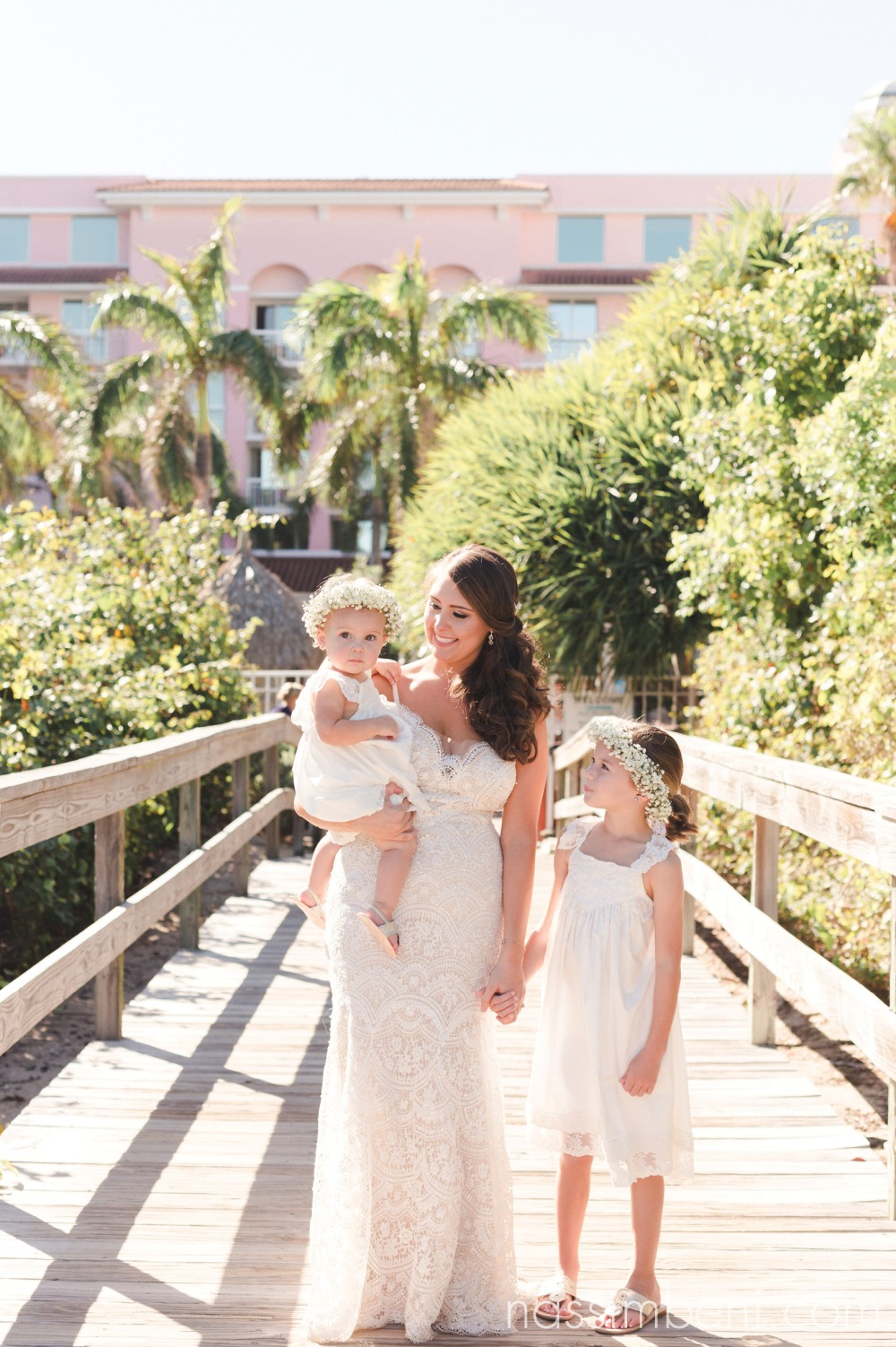 bride and flower girls at palm beach shores resort by nassimbeni photography