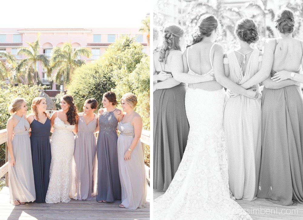mix matched grey tone bridesmaids at palm beach shores resort by treasure coast wedding photographer nassimbeni photography