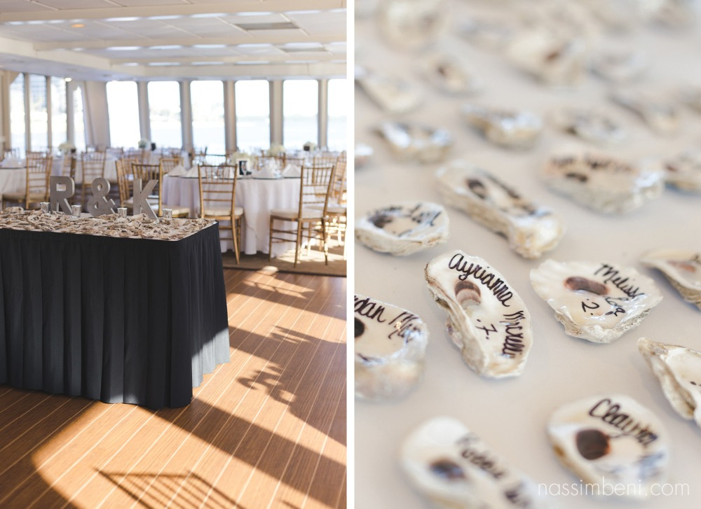 seating charts in shells on catalina yacht wedding by nassimbeni photography
