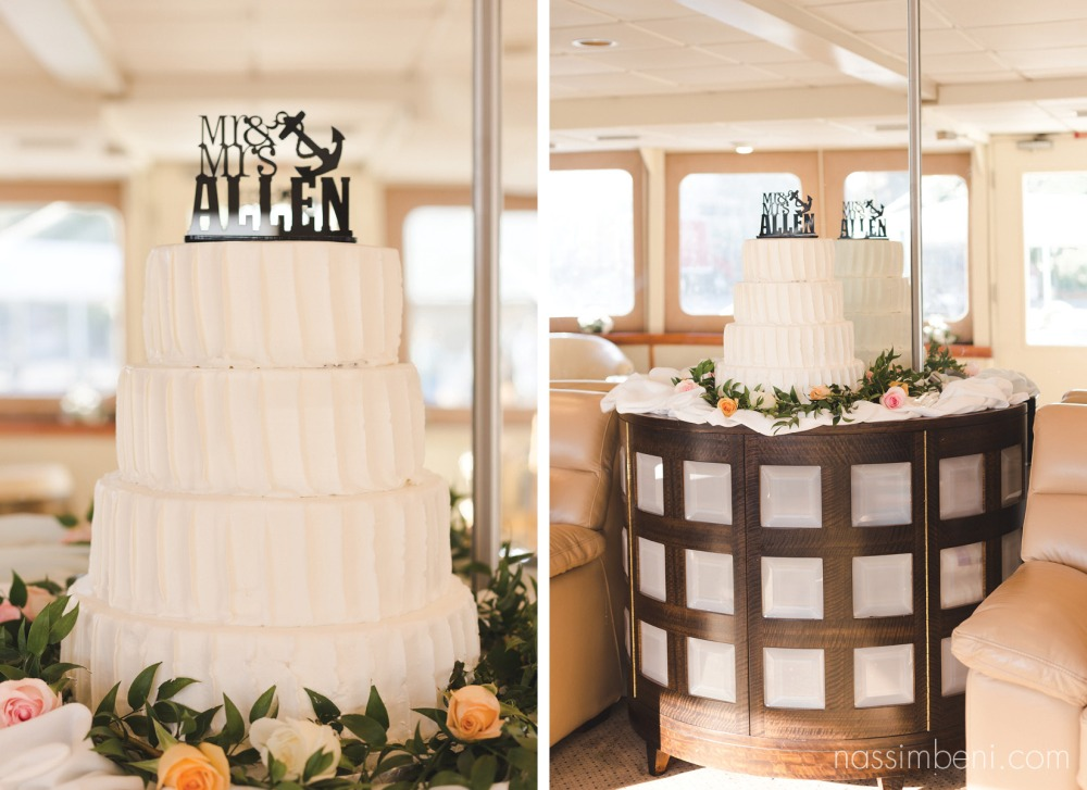 anchor cake topper for coastal yacht wedding in palm beach florida by nassimbeni photography