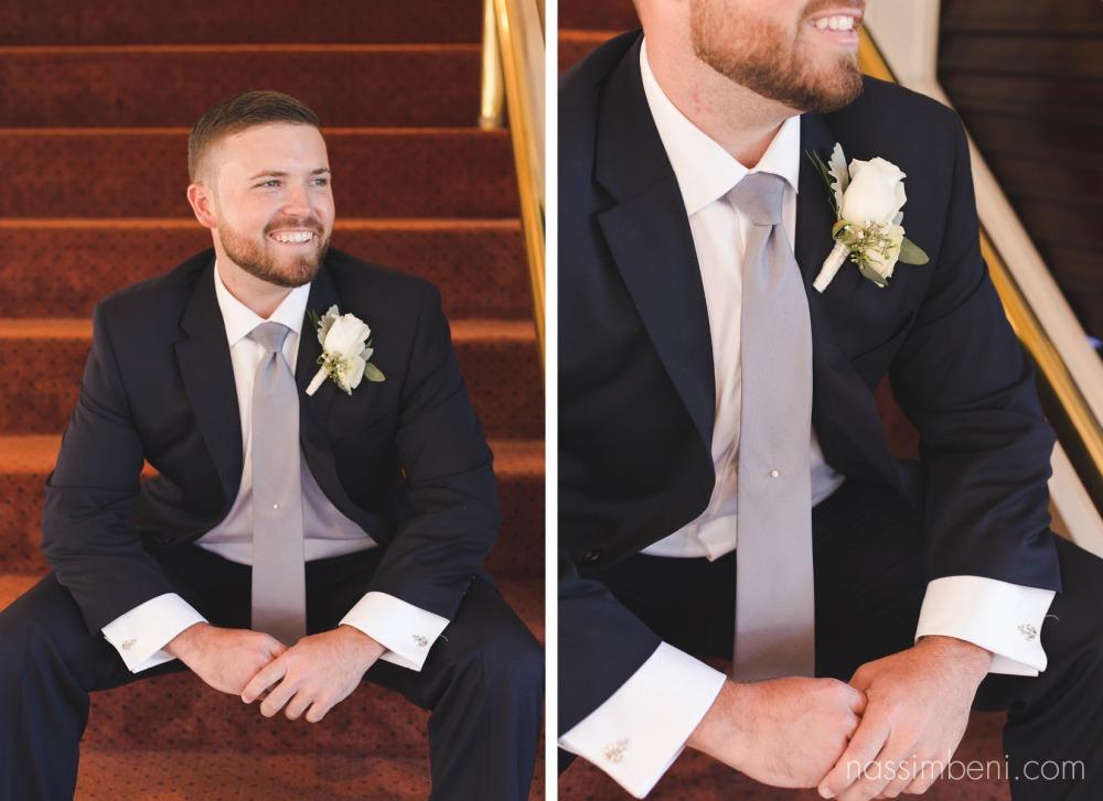 groom on catalina wedding yacht by nassimbeni photography