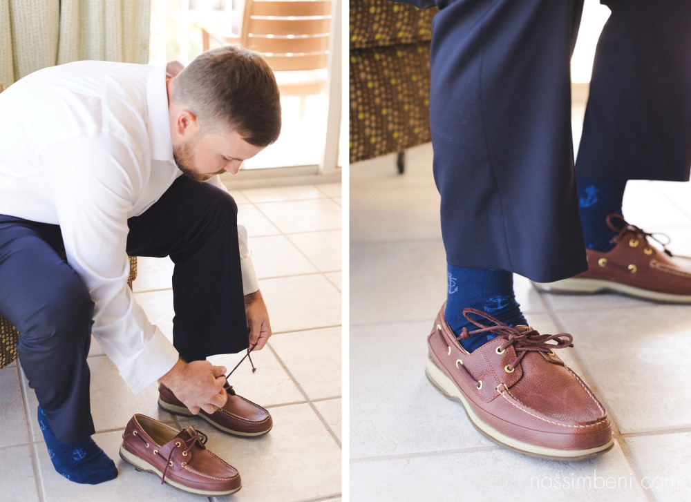 anchor socks for groom at palm beach shores resort by nassimbeni photography