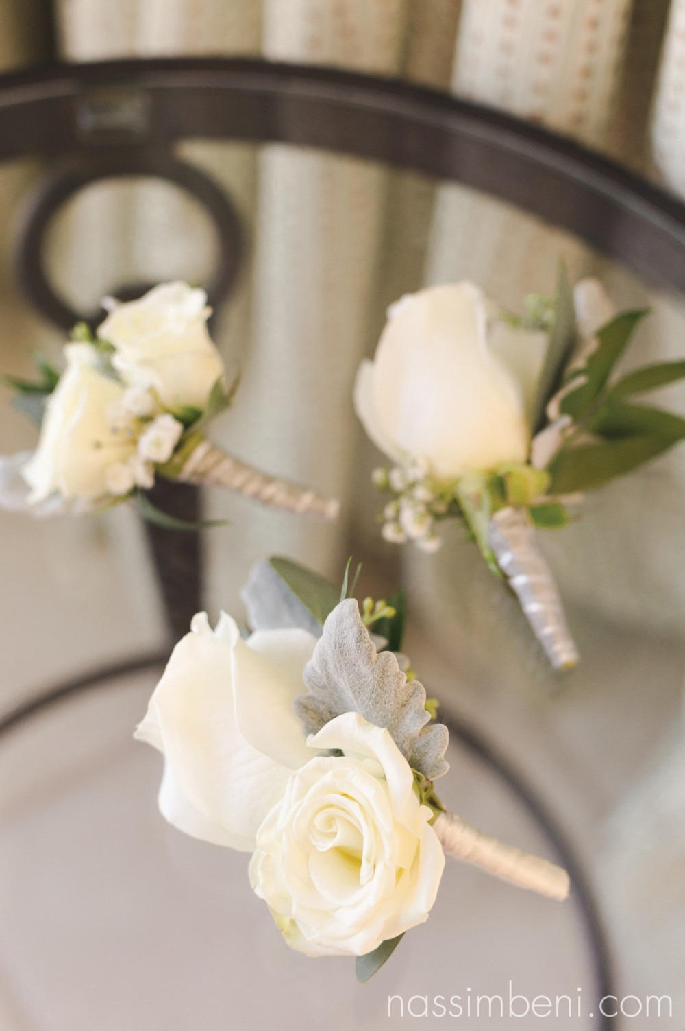 Giordano's floral creations boutonnières at palm beach shores resort by nassimbeni photography
