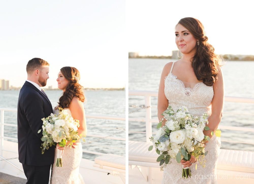 stunning bride and groom during sunset yacht wedding by nassimbeni photography