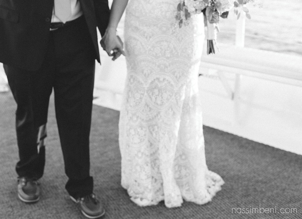 bride and groom aboard catalina yacht wedding by nassimbeni photography