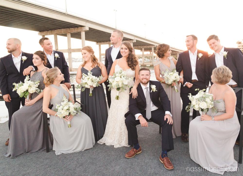 elegant bridal party photo on yacht wedding in palm beach florida by treasure coast photographer nassimbeni photography