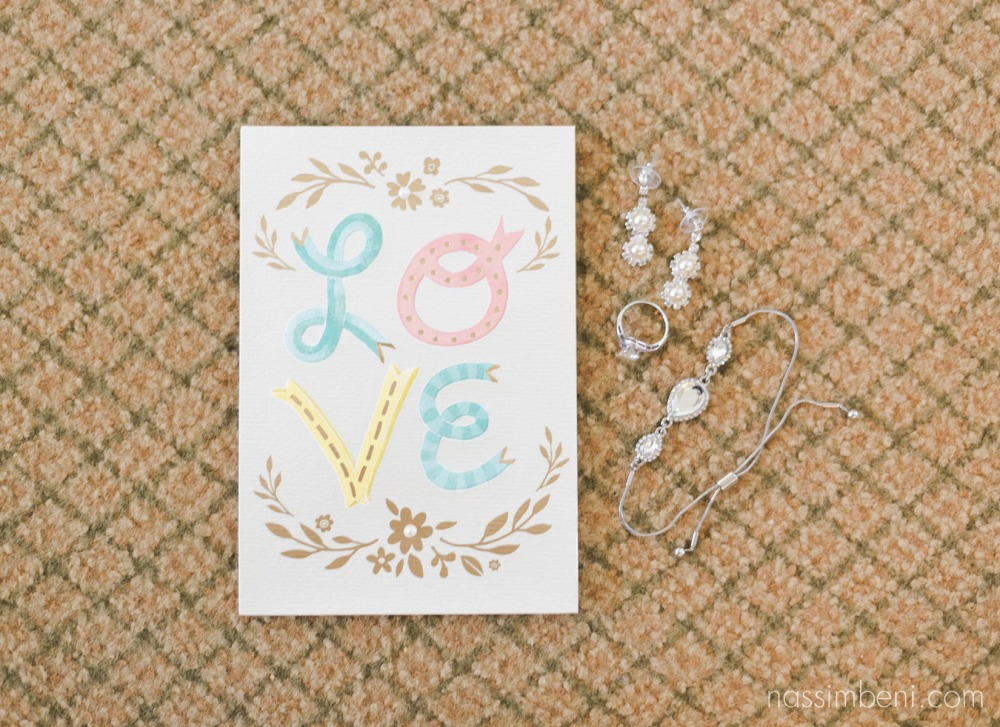 wedding card to bride with her accessories by treasure coast wedding photographer nassimbeni photography