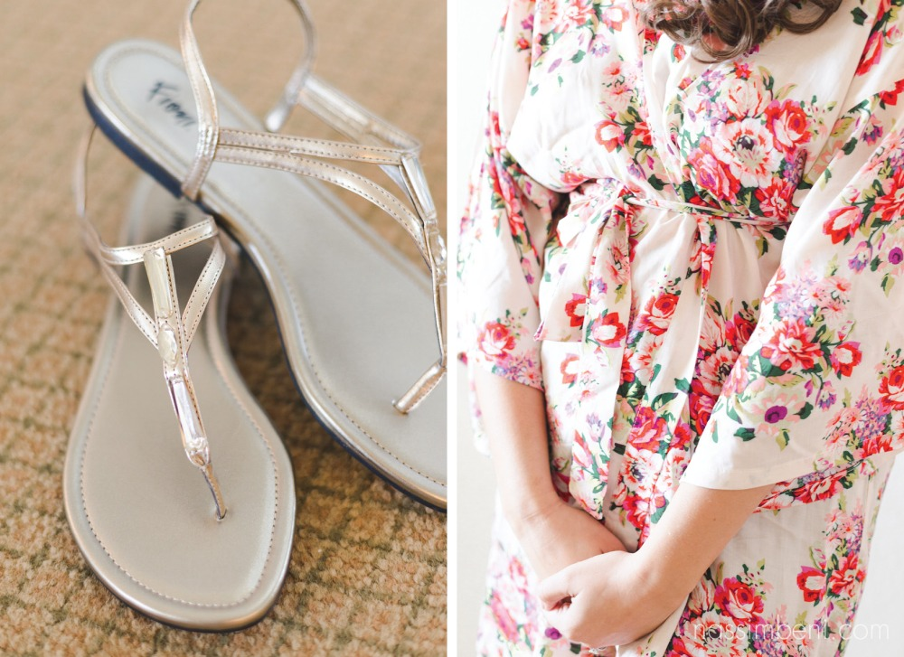 Palm beach shores resort bride in sandals and floral robe by port st lucie wedding photographer nassimbeni photography
