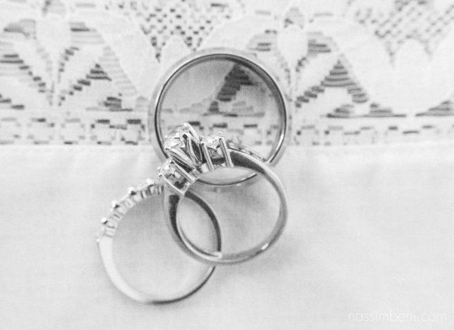 elegant black and white wedding ring shot