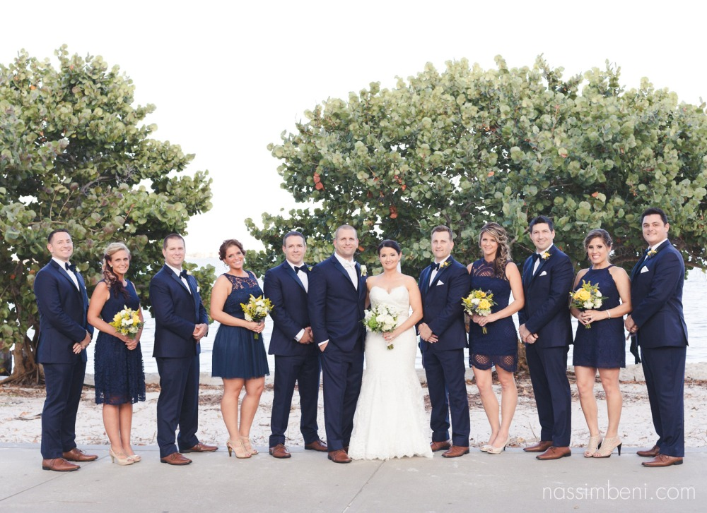 navy blue bridal party at indian riverside park