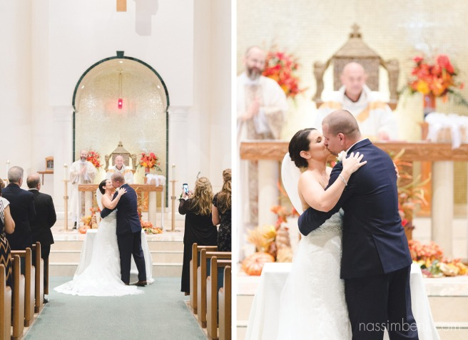 first kiss at holy family catholic church wedding in port st lucie wedding photographer nassimbeni photography