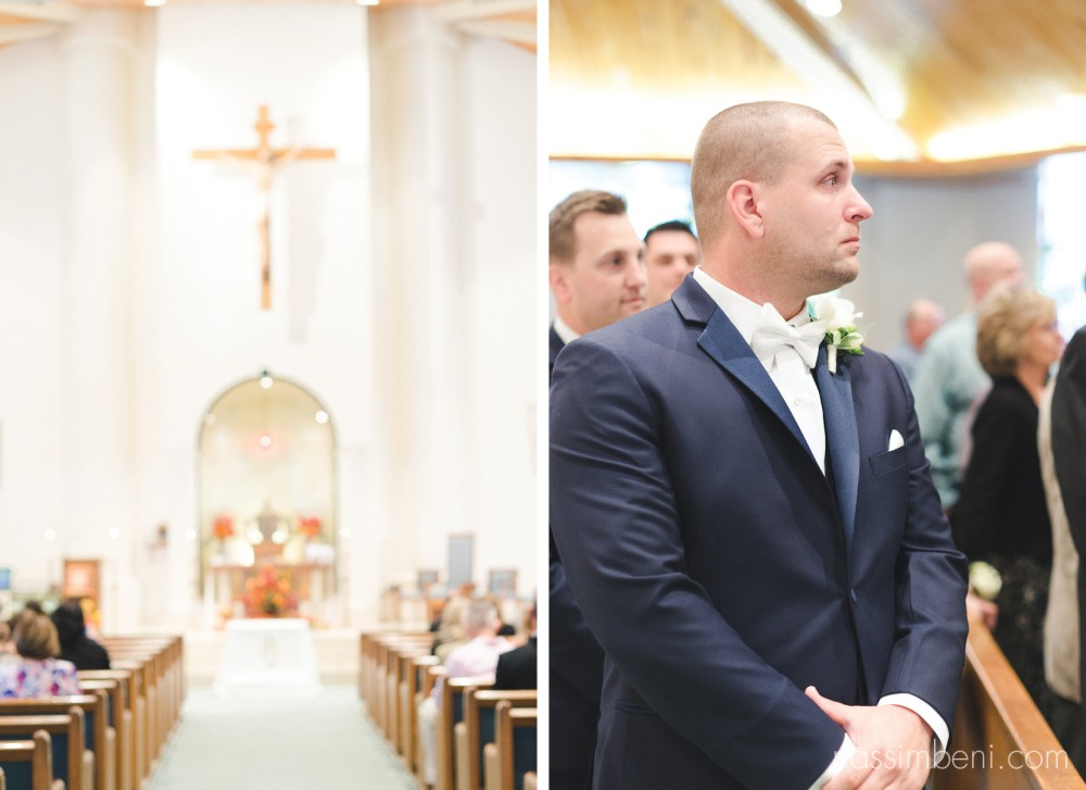 groom in tears at holy family catholic church as bride walks down..nassimbeni photography