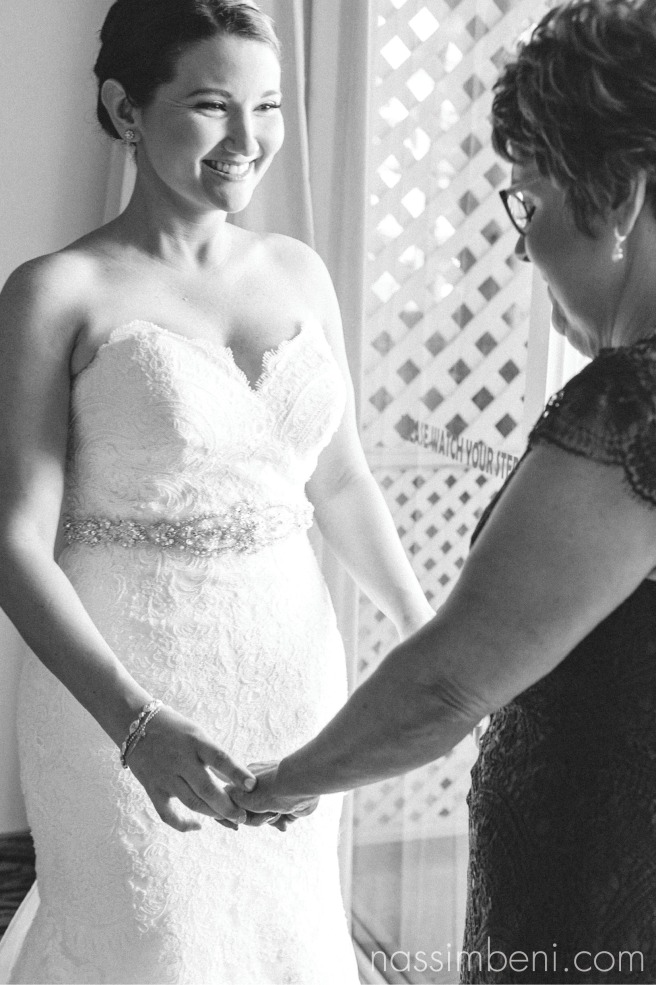 mom and bride reaction at bride prep by nassimbeni photography