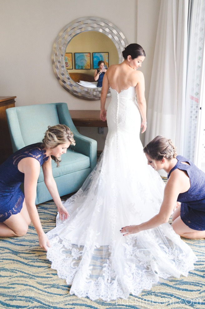 long train on wedding dress at Hutchinson Island Marriott bride prep by nassimbeni photography