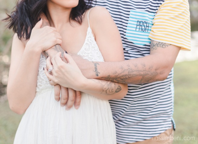 hug from behind at white city park engagement photos by Nassimbeni Photography