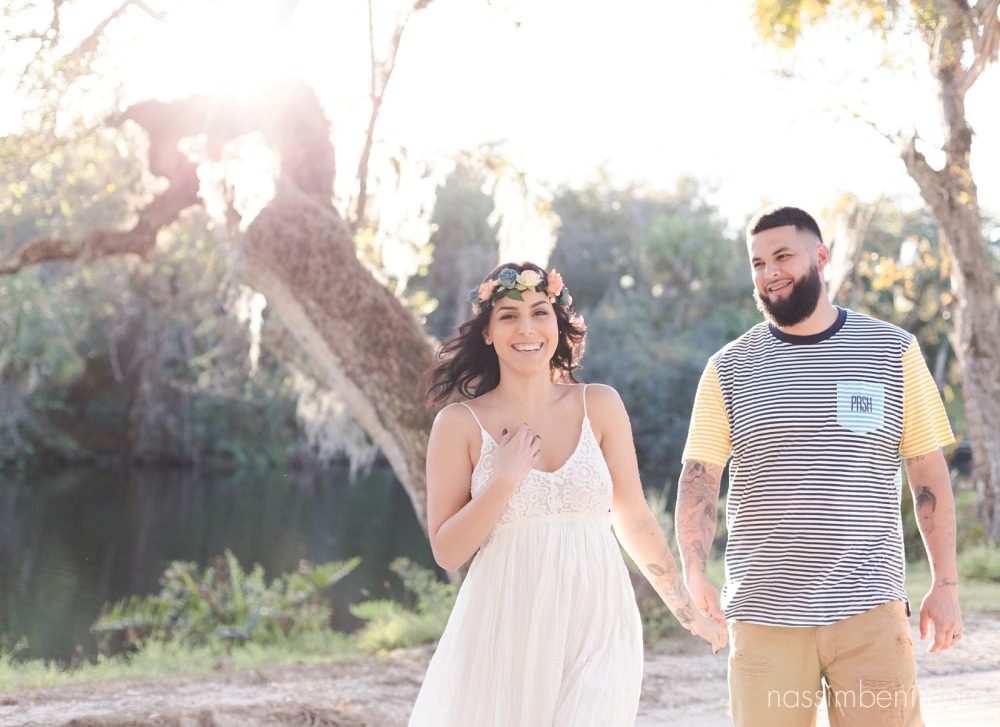 cutest natural and colorful engagement photos at white city park in ft pierce by port st lucie wedding photographer nassimbeni photography