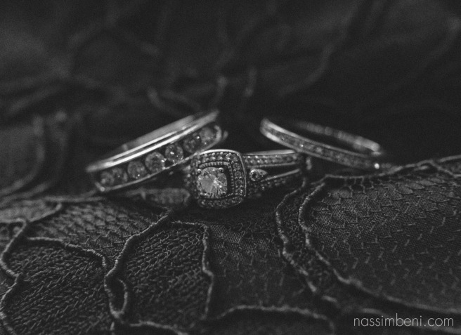 wedding bands on detail of bridesmaids dress by Nassimbeni Photography