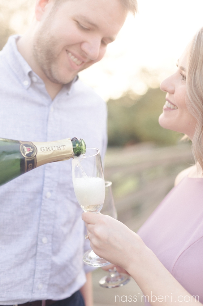 Gleason Park engagement photos with champagne by Port St Lucie Wedding Photographer Nassimbeni Photography