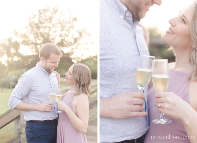 Gleason Park sunrise engagement with champagne by nassimbeni photography