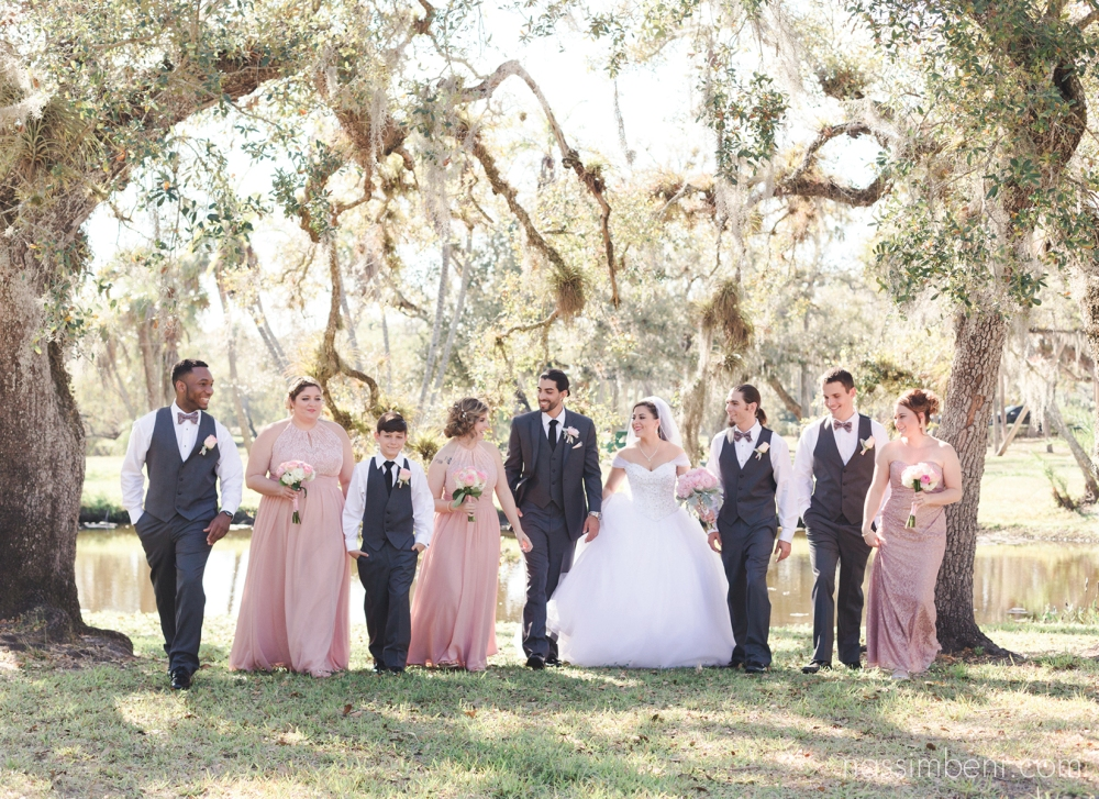 blush and grey bridal party at white city park in ft pierce florida by port st lucie wedding photographer
