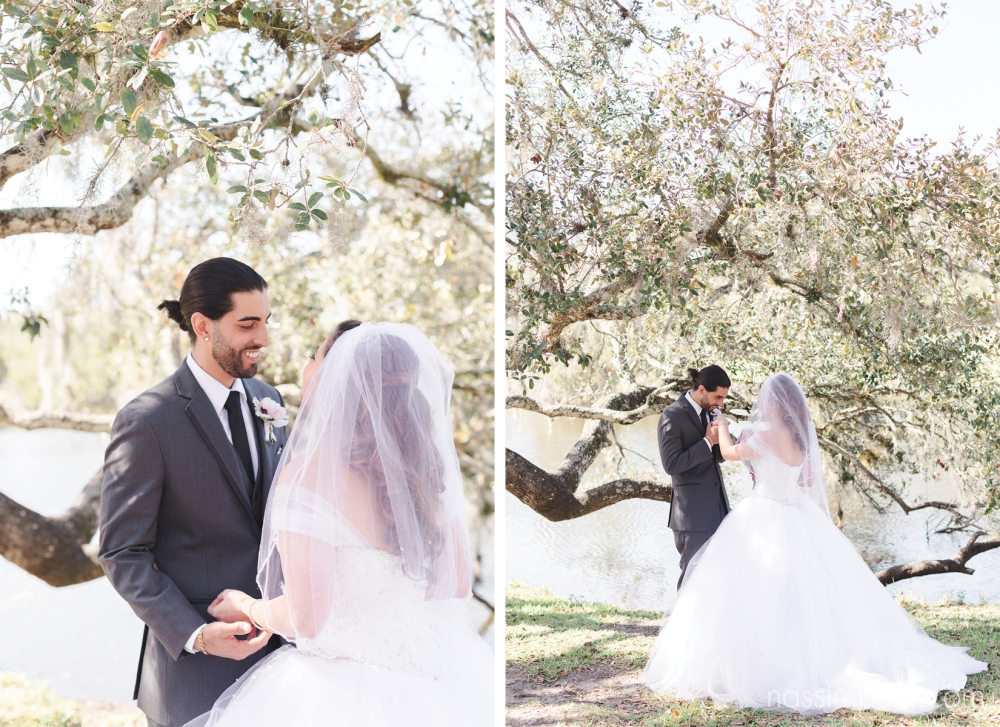 bride and grooms first look at white city park by Nassimbeni Photography