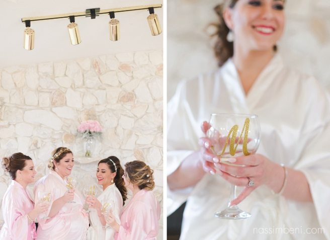 pink bridesmaids robes and monogram wine glass