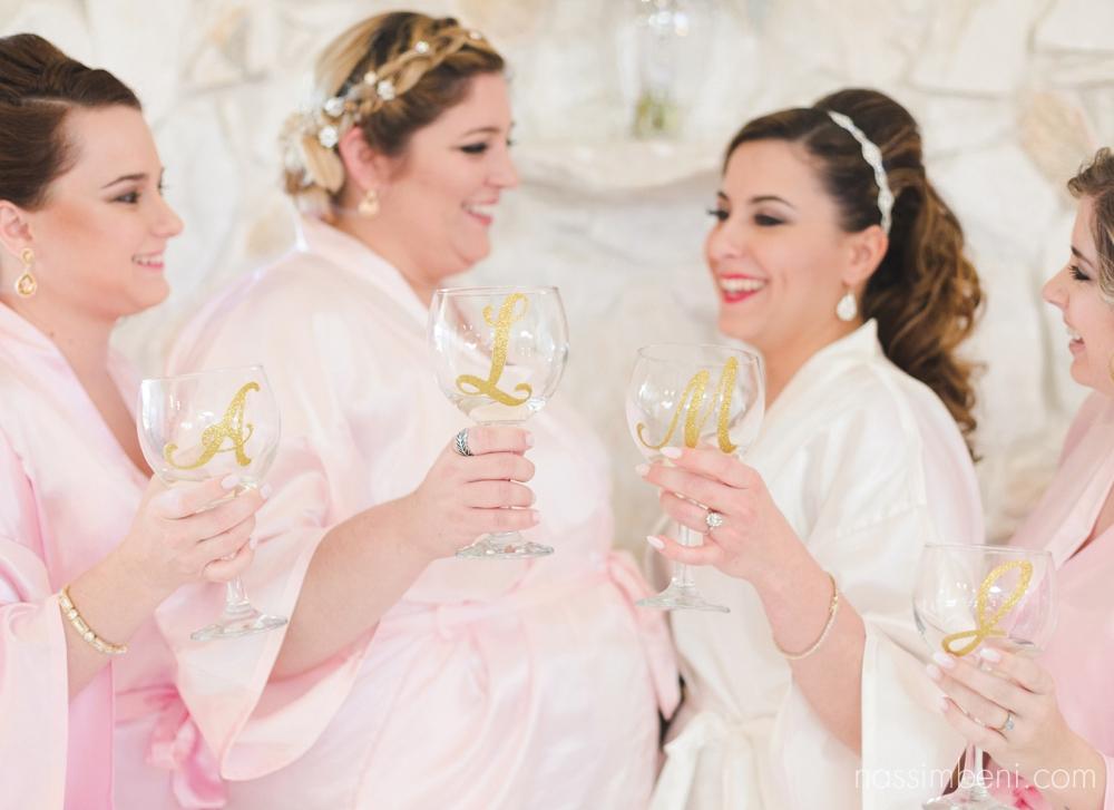 monogran bridesmaids wine glasses by nassimbeni photography
