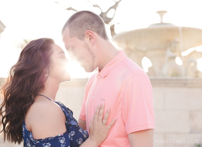 bright and airy engagement photos at palm beach memorial fountain by Nassimbeni Photography of vero beach