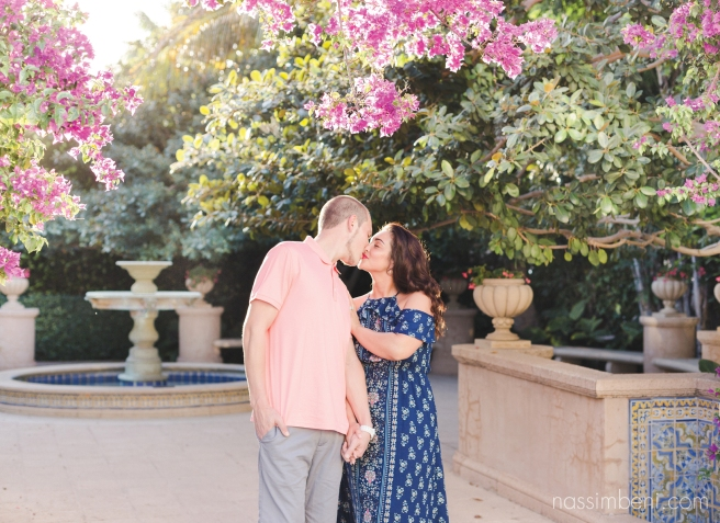 fountains and greenery at worth avenue engagement photos