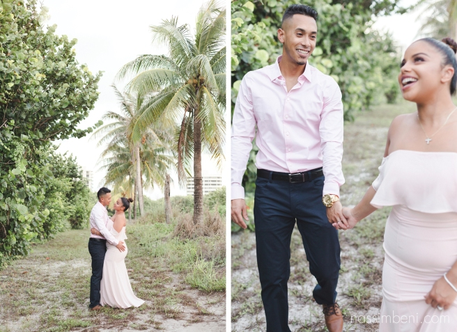 elegant blush outfit for engagement photos in tropicall Florida