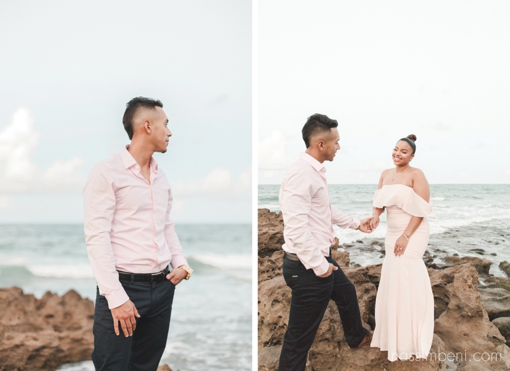 hispanic couple at elegant oceanside engagement photos