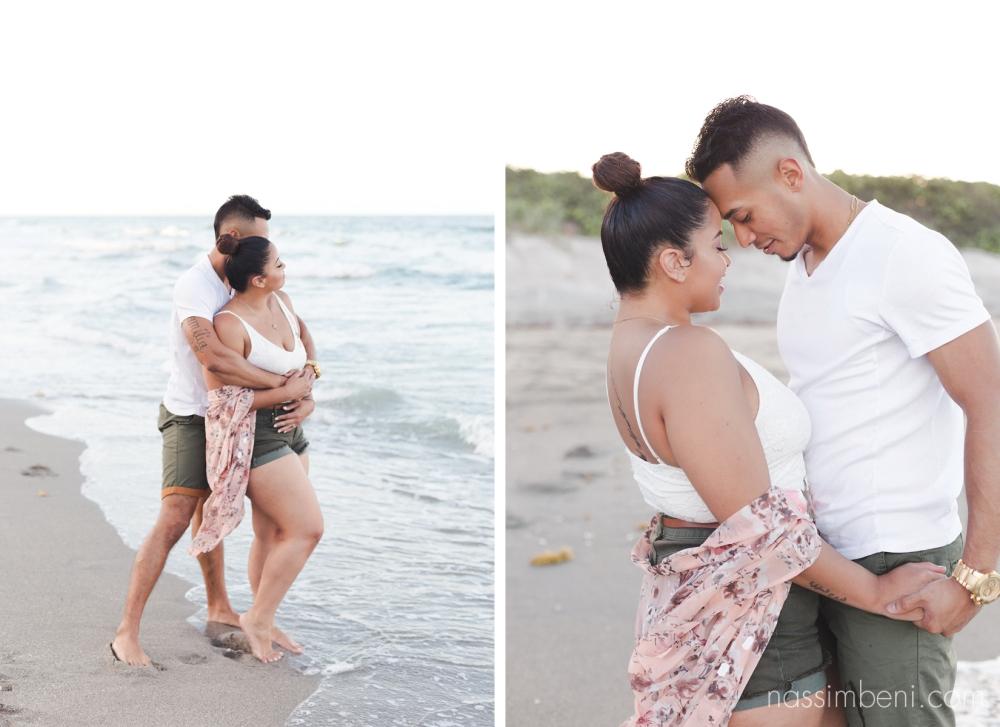 cute hispanic couple at beach engagement session - nassimbeni photography