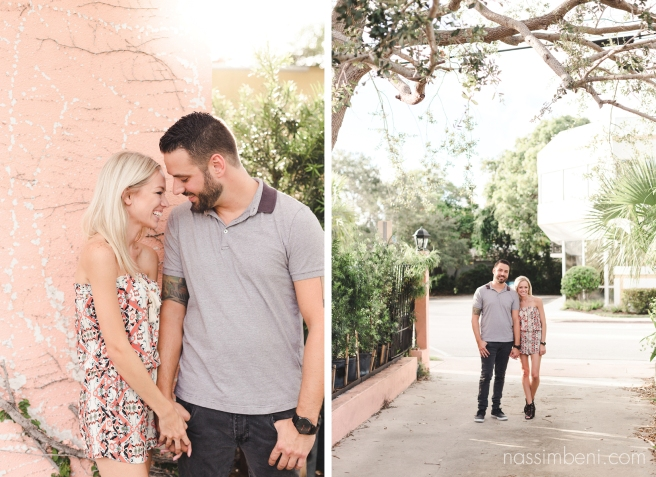 pink wall engagement photos downtown stuart florida